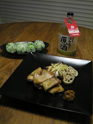 豚のソテー 肉味噌添えと菜めしおにぎり