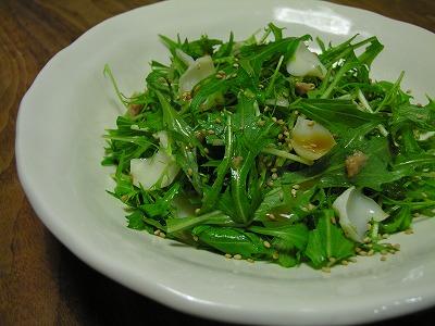 水菜とツナとゆり根のサラダ