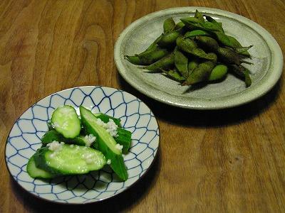 きゅうり塩麹漬けと黒枝豆