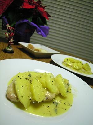 鶏むね肉とリンゴの青かびチーズ煮