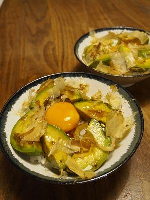 アボカド卵黄ののっけ丼